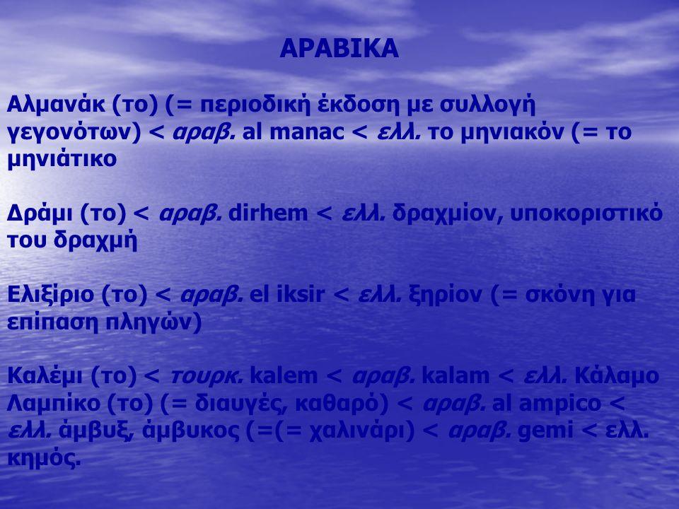 ΑΡΑΒΙΚΑ Αλμανάκ (το) (= περιοδική έκδοση με συλλογή γεγονότων) < αραβ. al manac < ελλ. το μηνιακόν (= το μηνιάτικο Δράμι (το) < αραβ. dirhem < ελλ. δρ