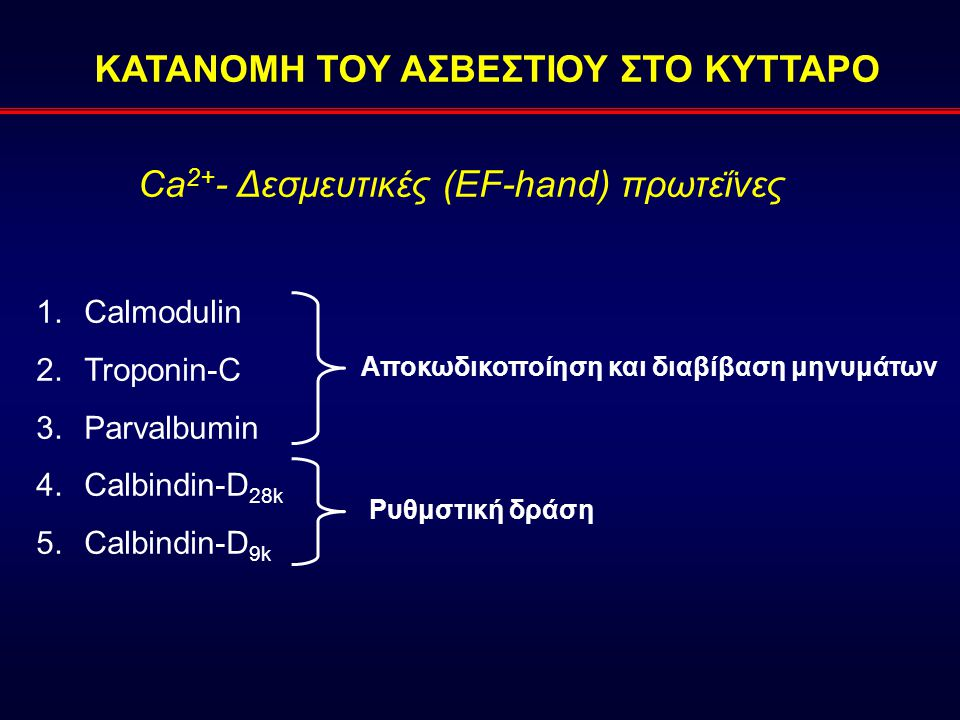 Ca 2+ - Δεσμευτικές (EF-hand) πρωτεΐνες 1.Calmodulin 2.Troponin-C 3.Parvalbumin 4.Calbindin-D 28k 5.Calbindin-D 9k Αποκωδικοποίηση και διαβίβαση μηνυμάτων Ρυθμστική δράση ΚΑΤΑΝΟΜΗ ΤΟΥ ΑΣΒΕΣΤΙΟΥ ΣΤΟ ΚΥΤΤΑΡΟ