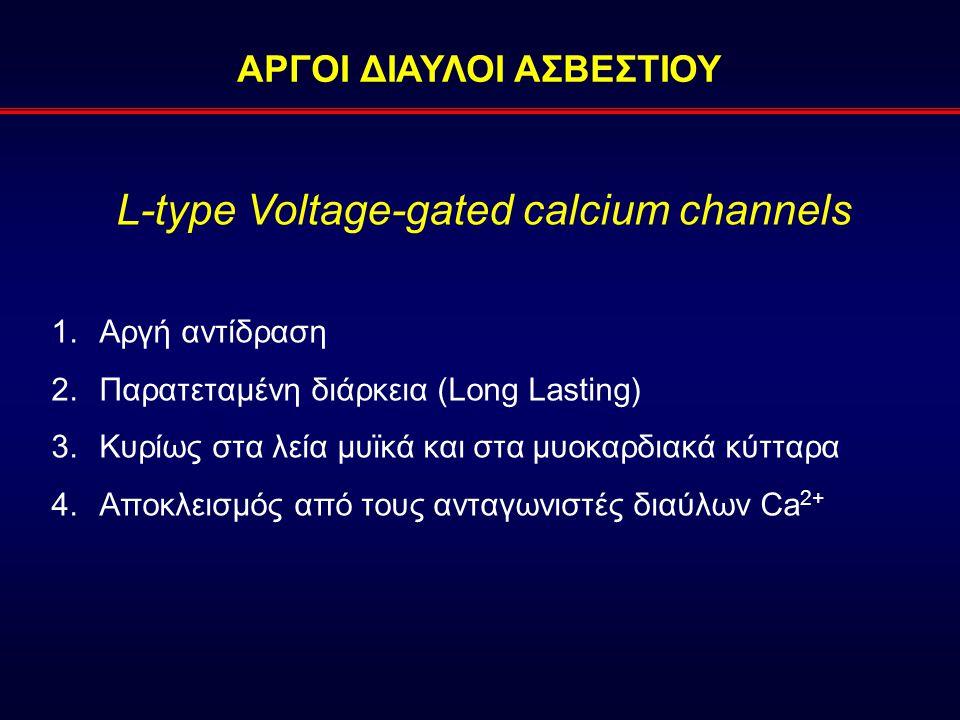 ΑΡΓΟΙ ΔΙΑΥΛΟΙ ΑΣΒΕΣΤΙΟΥ L-type Voltage-gated calcium channels 1.Αργή αντίδραση 2.Παρατεταμένη διάρκεια (Long Lasting) 3.Κυρίως στα λεία μυϊκά και στα μυοκαρδιακά κύτταρα 4.Αποκλεισμός από τους ανταγωνιστές διαύλων Ca 2+