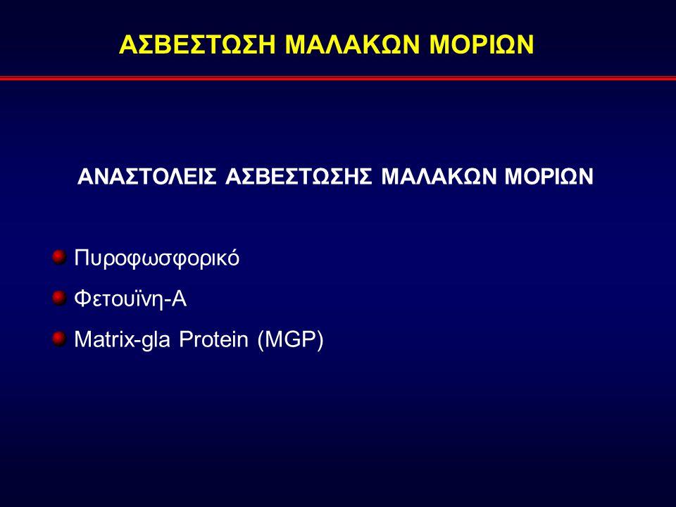 ΑΣΒΕΣΤΩΣΗ ΜΑΛΑΚΩΝ ΜΟΡΙΩΝ ΑΝΑΣΤΟΛΕΙΣ ΑΣΒΕΣΤΩΣΗΣ ΜΑΛΑΚΩΝ ΜΟΡΙΩΝ Πυροφωσφορικό Φετουϊνη-A Matrix-gla Protein (MGP)