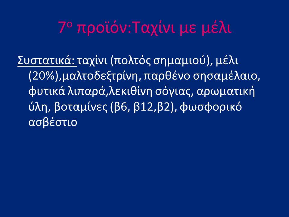 7 ο προϊόν:Ταχίνι με μέλι Συστατικά: ταχίνι (πολτός σημαμιού), μέλι (20%),μαλτοδεξτρίνη, παρθένο σησαμέλαιο, φυτικά λιπαρά,λεκιθίνη σόγιας, αρωματική