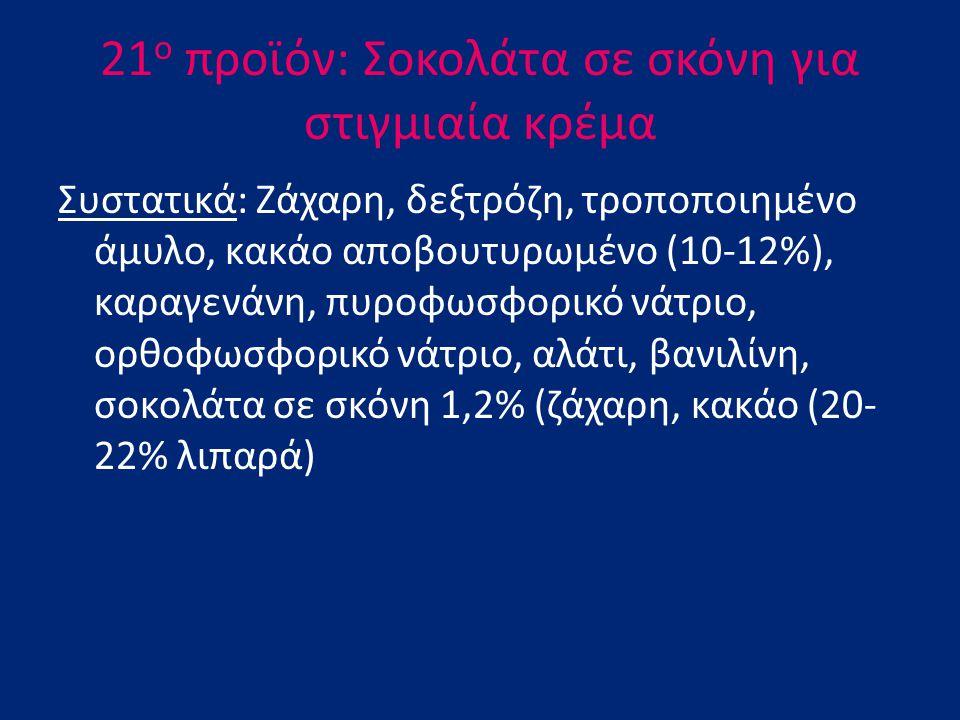 21 ο προϊόν: Σοκολάτα σε σκόνη για στιγμιαία κρέμα Συστατικά: Zάχαρη, δεξτρόζη, τροποπoιημένο άμυλο, κακάο αποβουτυρωμένο (10-12%), καραγενάνη, πυροφω