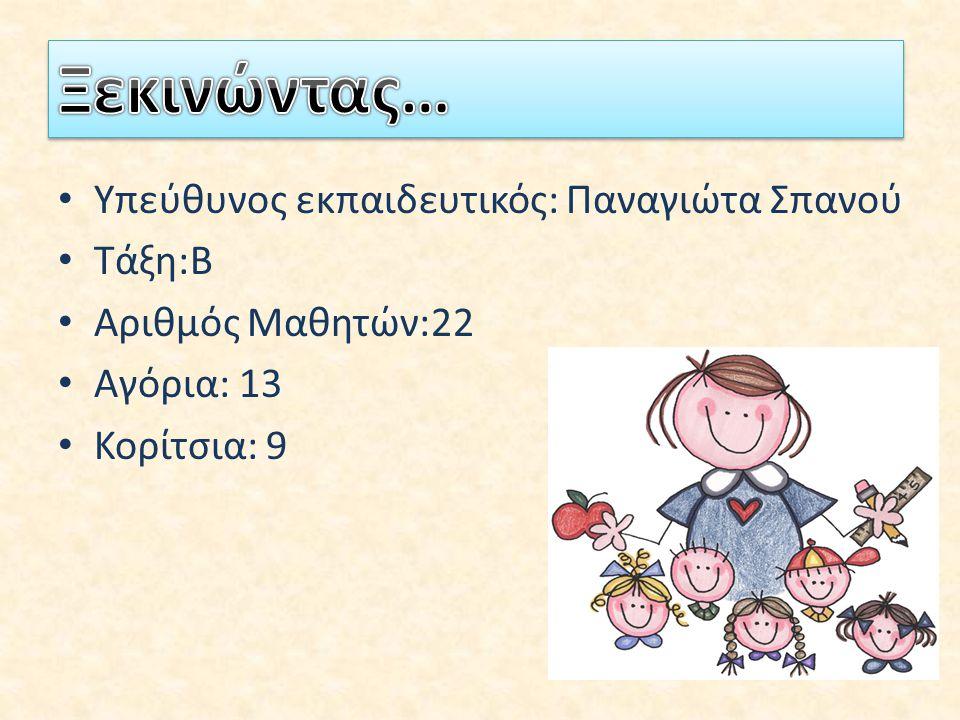 Υπεύθυνος εκπαιδευτικός: Παναγιώτα Σπανού Τάξη:Β Αριθμός Μαθητών:22 Αγόρια: 13 Κορίτσια: 9