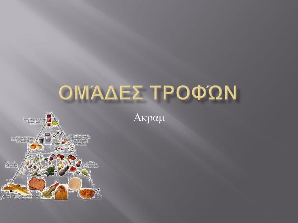 ΨΩΜΙ-ΔΗΜΗΤΡΙΑΚΑ-ΡΥΖΙ&ΖΥΜΑΡΙΚΑ Η 1η ομάδα περιλαμβάνει τα δημητριακά, τα ζυμαρικά, το ρύζι,τις πατάτες, το ψωμί και τα αρτοσκευάσματα.Οι τροφές αυτές βρίσκονται στη βάση της διατροφικής πυραμίδας, πράγμα το οποίο σημαίνει ότι πρέπει σε καθημερινή βάση να καταναλώνουμε τροφές από αυτή την ομάδα.