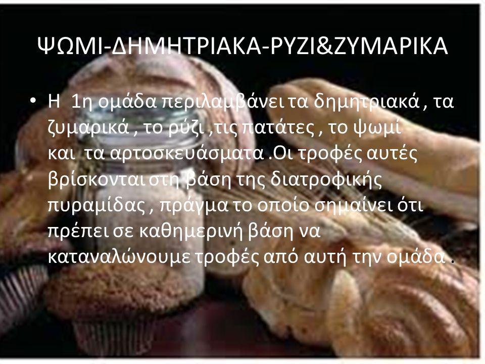 ΨΩΜΙ-ΔΗΜΗΤΡΙΑΚΑ-ΡΥΖΙ&ΖΥΜΑΡΙΚΑ Η 1η ομάδα περιλαμβάνει τα δημητριακά, τα ζυμαρικά, το ρύζι,τις πατάτες, το ψωμί και τα αρτοσκευάσματα.Οι τροφές αυτές β