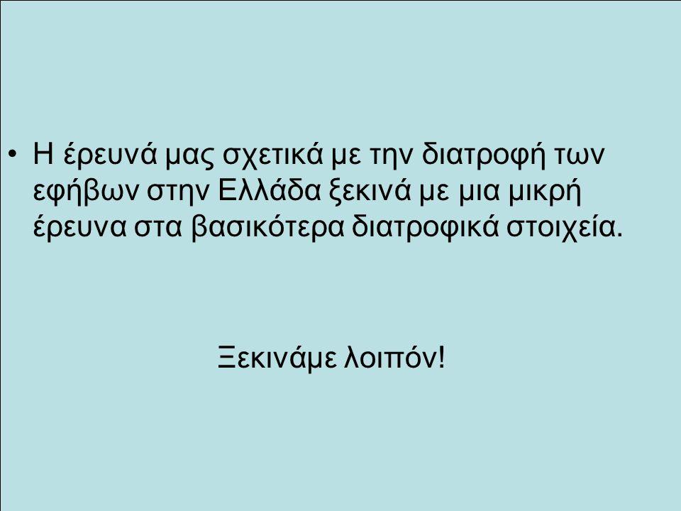 Η έρευνά μας σχετικά με την διατροφή των εφήβων στην Ελλάδα ξεκινά με μια μικρή έρευνα στα βασικότερα διατροφικά στοιχεία. Ξεκινάμε λοιπόν!