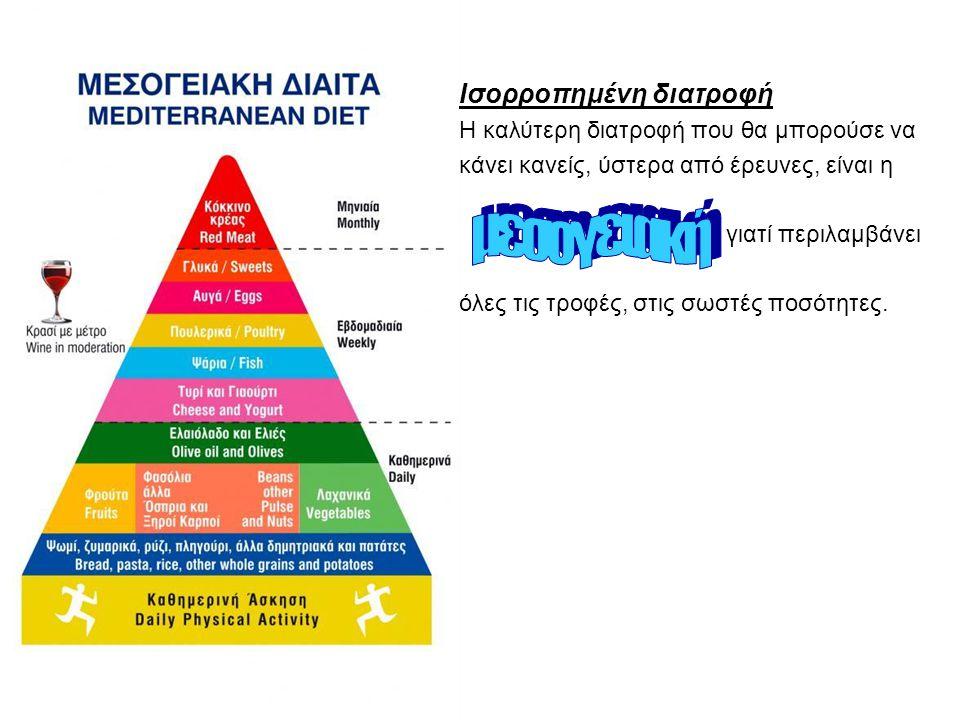 Ισορροπημένη διατροφή Η καλύτερη διατροφή που θα μπορούσε να κάνει κανείς, ύστερα από έρευνες, είναι η γιατί περιλαμβάνει όλες τις τροφές, στις σωστές