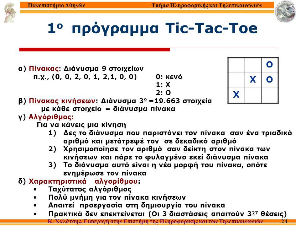 Τμήμα Πληροφορικής και Τηλεπικοινωνιών Κ. Χαλάτσης, Εισαγωγή στην Επιστήμη της Πληροφορικής και των Τηλεπικοινωνιών Πανεπιστήμιο Αθηνών 24 1 o πρόγραμ