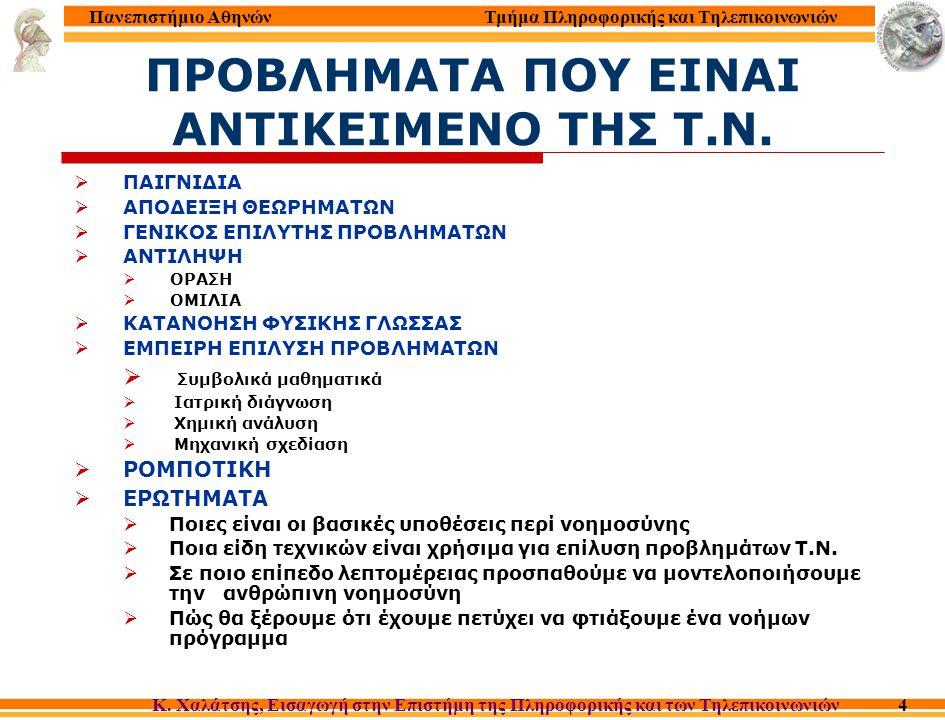 Τμήμα Πληροφορικής και Τηλεπικοινωνιών Κ. Χαλάτσης, Εισαγωγή στην Επιστήμη της Πληροφορικής και των Τηλεπικοινωνιών Πανεπιστήμιο Αθηνών 4 ΠΡΟΒΛΗΜΑΤΑ Π