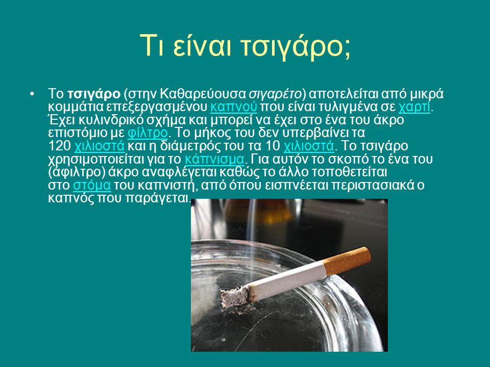 Τι είναι τσιγάρο; Το τσιγάρο (στην Καθαρεύουσα σιγαρέτο) αποτελείται από μικρά κομμάτια επεξεργασμένου καπνού που είναι τυλιγμένα σε χαρτί. Έχει κυλιν