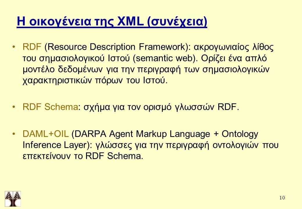 10 Η οικογένεια της XML (συνέχεια) RDF (Resource Description Framework): ακρογωνιαίος λίθος του σημασιολογικού Ιστού (semantic web).