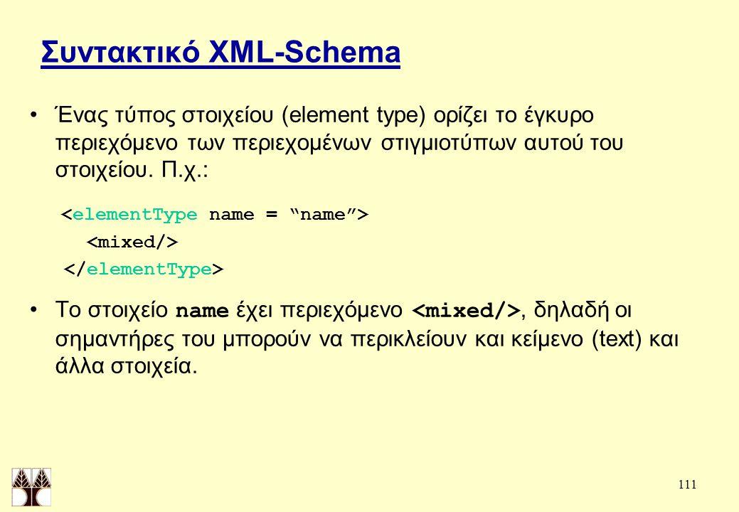 111 Συντακτικό XML-Schema Ένας τύπος στοιχείου (element type) ορίζει το έγκυρο περιεχόμενο των περιεχομένων στιγμιοτύπων αυτού του στοιχείου.