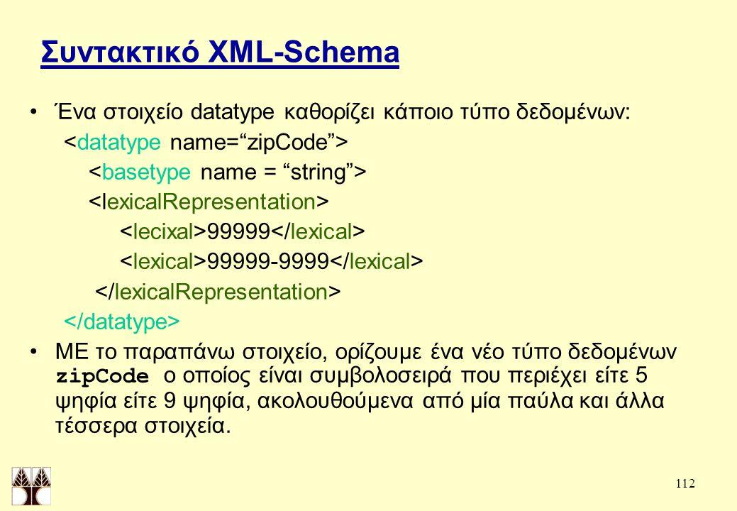 112 Συντακτικό XML-Schema Ένα στοιχείο datatype καθορίζει κάποιο τύπο δεδομένων: 99999 99999-9999 ΜΕ το παραπάνω στοιχείο, ορίζουμε ένα νέο τύπο δεδομένων zipCode ο οποίος είναι συμβολοσειρά που περιέχει είτε 5 ψηφία είτε 9 ψηφία, ακολουθούμενα από μία παύλα και άλλα τέσσερα στοιχεία.