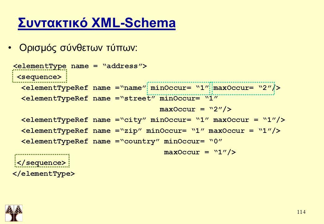 114 Συντακτικό XML-Schema Ορισμός σύνθετων τύπων: <elementTypeRef name = street minOccur= 1 maxOccur = 2 /> <elementTypeRef name = country minOccur= 0 maxOccur = 1 />