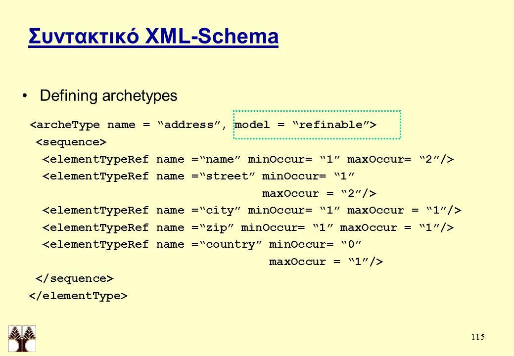 115 Συντακτικό XML-Schema Defining archetypes <elementTypeRef name = street minOccur= 1 maxOccur = 2 /> <elementTypeRef name = country minOccur= 0 maxOccur = 1 />