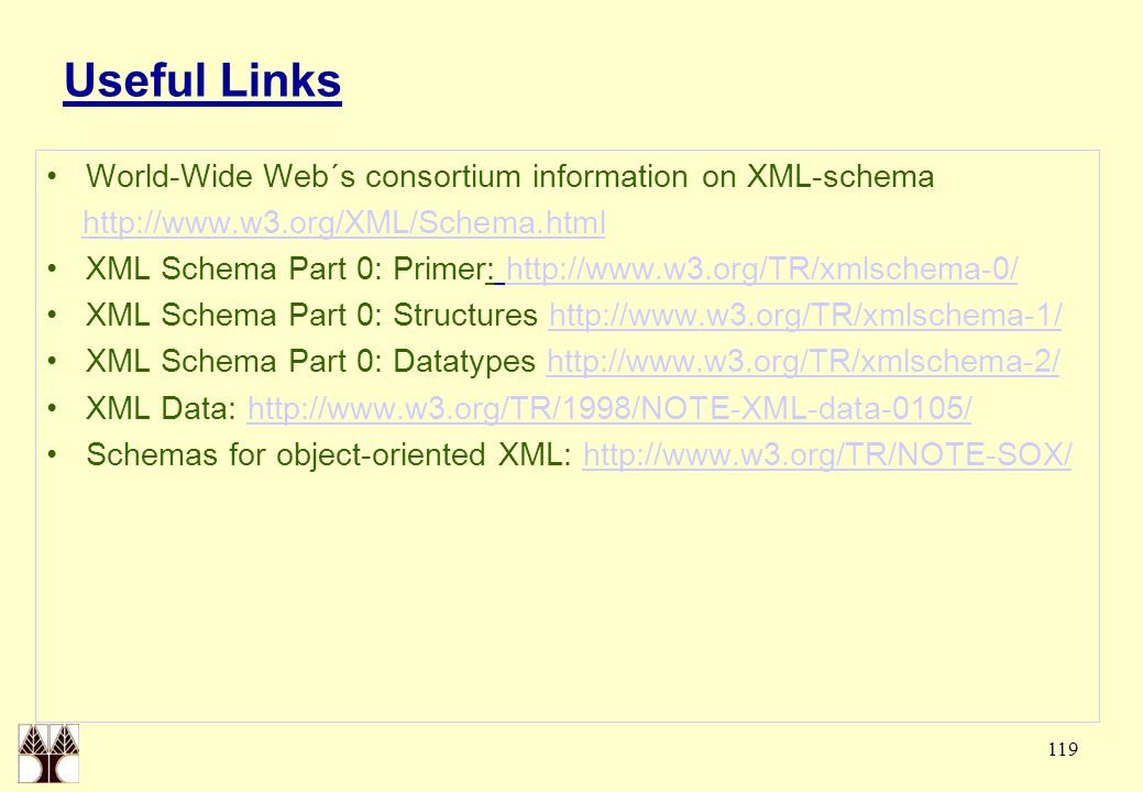 119 Useful Links World-Wide Web´s consortium information on XML-schema http://www.w3.org/XML/Schema.html XML Schema Part 0: Primer: http://www.w3.org/