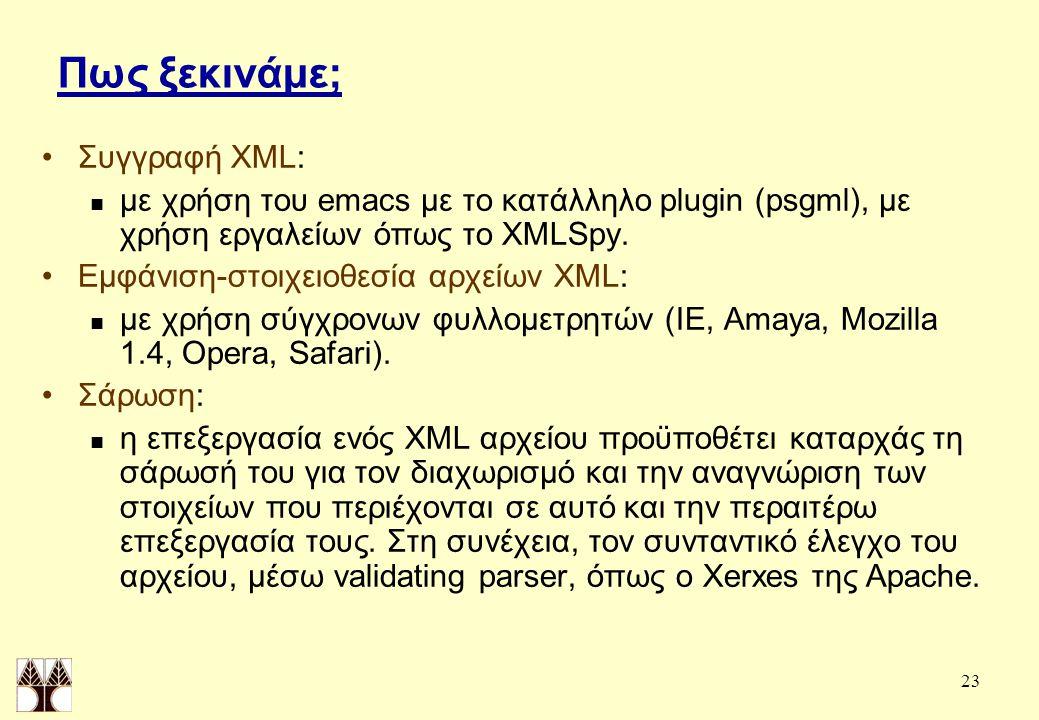 23 Πως ξεκινάμε; Συγγραφή XML: με χρήση του emacs με το κατάλληλο plugin (psgml), με χρήση εργαλείων όπως το XMLSpy.