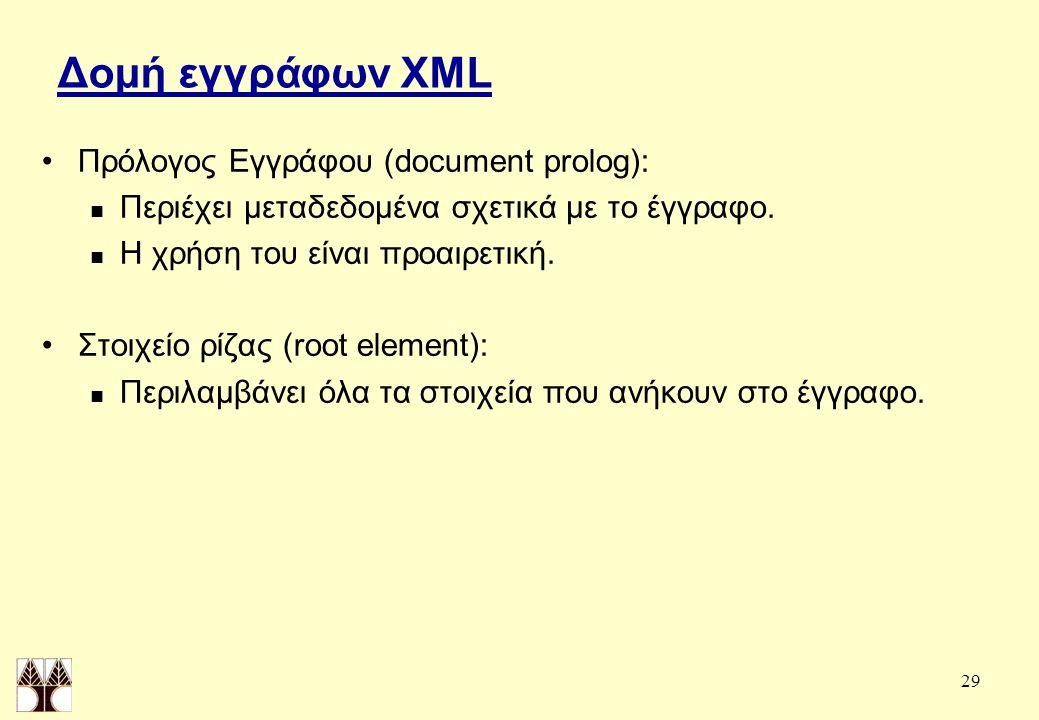 29 Δομή εγγράφων XML Πρόλογος Εγγράφου (document prolog): Περιέχει μεταδεδομένα σχετικά με το έγγραφο.