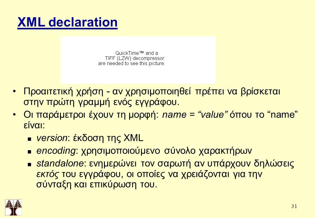 31 XML declaration Προαιτετική χρήση - αν χρησιμοποιηθεί πρέπει να βρίσκεται στην πρώτη γραμμή ενός εγγράφου.