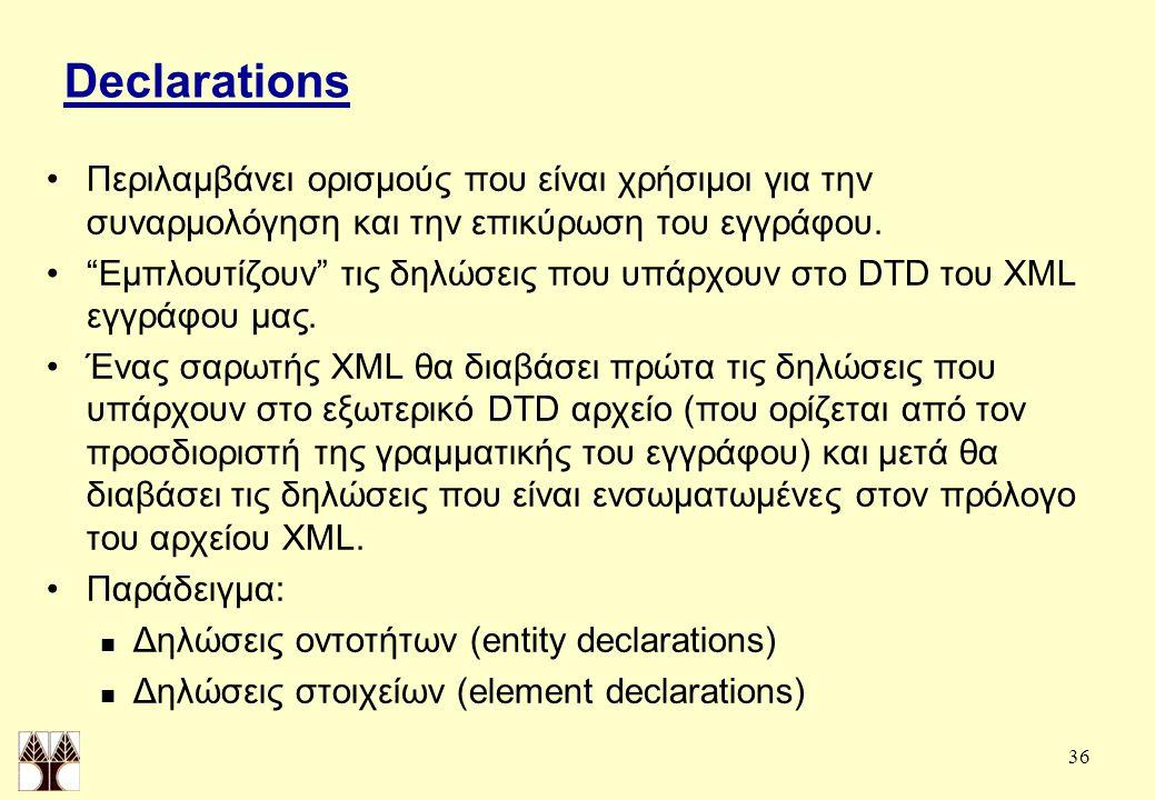 36 Declarations Περιλαμβάνει ορισμούς που είναι χρήσιμοι για την συναρμολόγηση και την επικύρωση του εγγράφου.