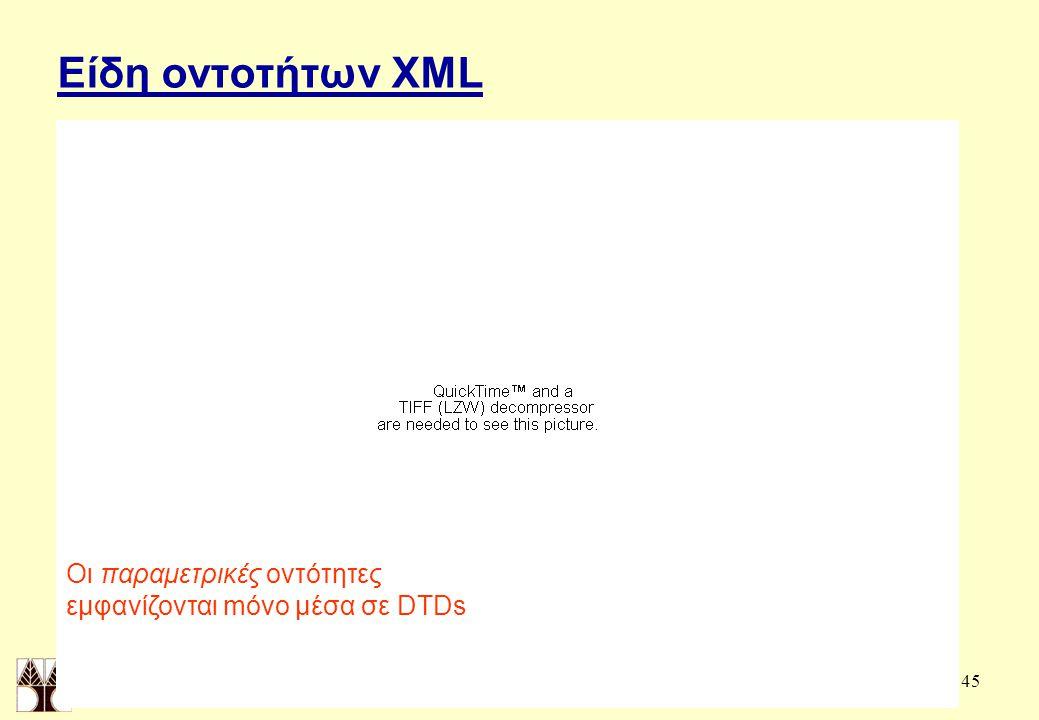 45 Είδη οντοτήτων XML Οι παραμετρικές οντότητες εμφανίζονται mόνο μέσα σε DTDs