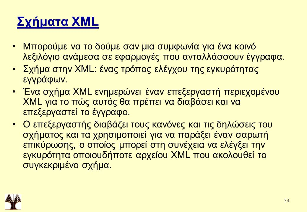 54 Σχήματα XML Μπορούμε να το δούμε σαν μια συμφωνία για ένα κοινό λεξιλόγιο ανάμεσα σε εφαρμογές που ανταλλάσσουν έγγραφα.