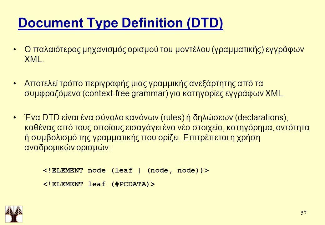 57 Document Type Definition (DTD) Ο παλαιότερος μηχανισμός ορισμού του μοντέλου (γραμματικής) εγγράφων XML.