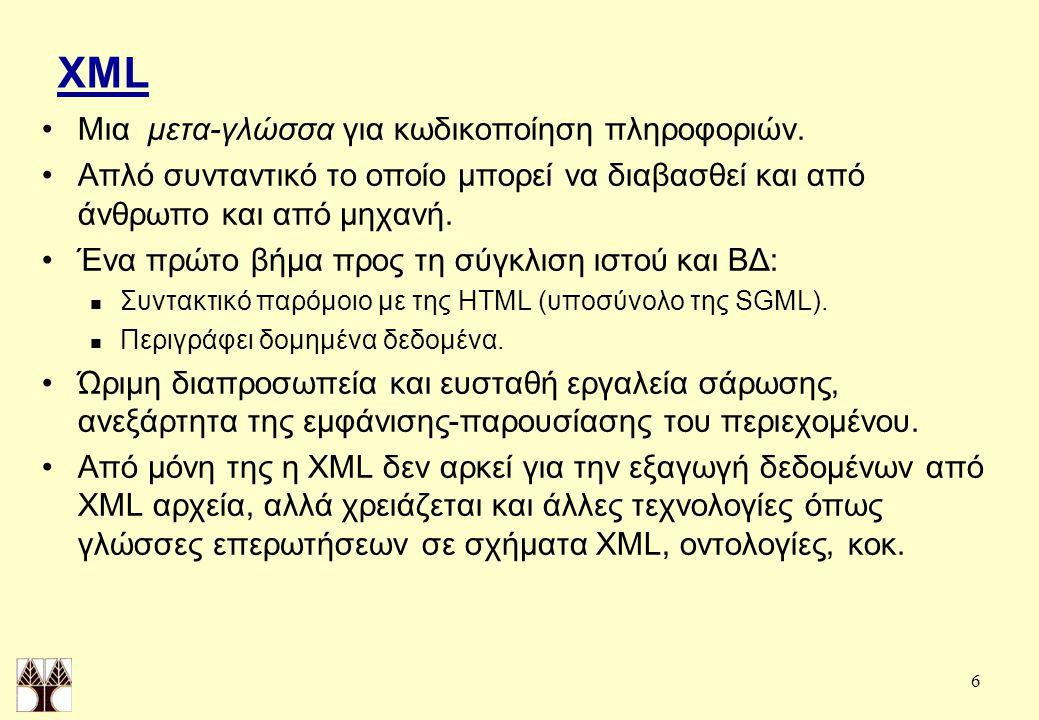 6 XML Μια μετα-γλώσσα για κωδικοποίηση πληροφοριών.