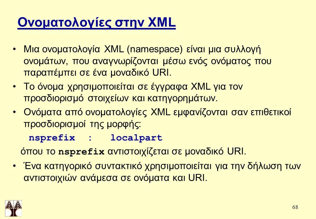 68 Ονοματολογίες στην XML Μια ονοματολογία XML (namespace) είναι μια συλλογή ονομάτων, που αναγνωρίζονται μέσω ενός ονόματος που παραπέμπει σε ένα μοναδικό URI.