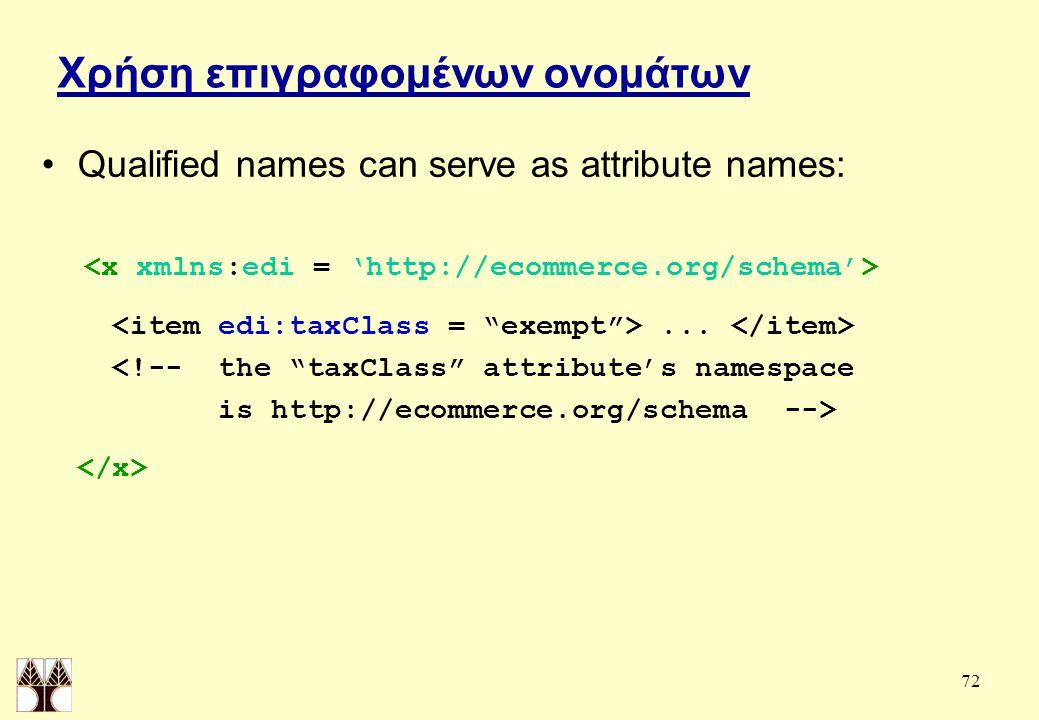 72 Χρήση επιγραφομένων ονομάτων Qualified names can serve as attribute names:...