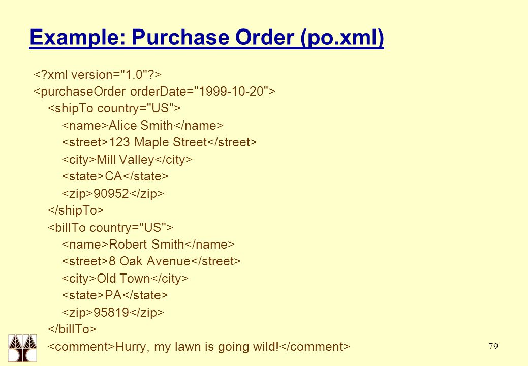 79 Example: Purchase Order (po.xml) Alice Smith 123 Maple Street Mill Valley CA 90952 Robert Smith 8 Oak Avenue Old Town PA 95819 Hurry, my lawn is go