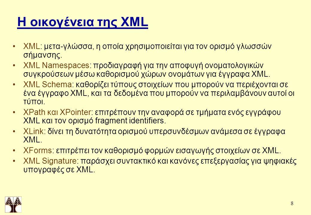 8 Η οικογένεια της XML XML: μετα-γλώσσα, η οποία χρησιμοποιείται για τον ορισμό γλωσσών σήμανσης.