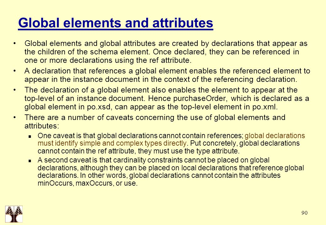 90 Global elements and attributes Global elements and global attributes are created by declarations that appear as the children of the schema element.
