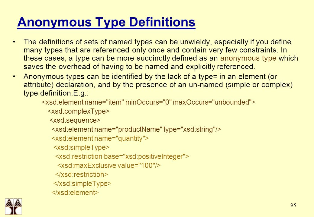 95 Anonymous Type Definitions The definitions of sets of named types can be unwieldy, especially if you define many types that are referenced only onc
