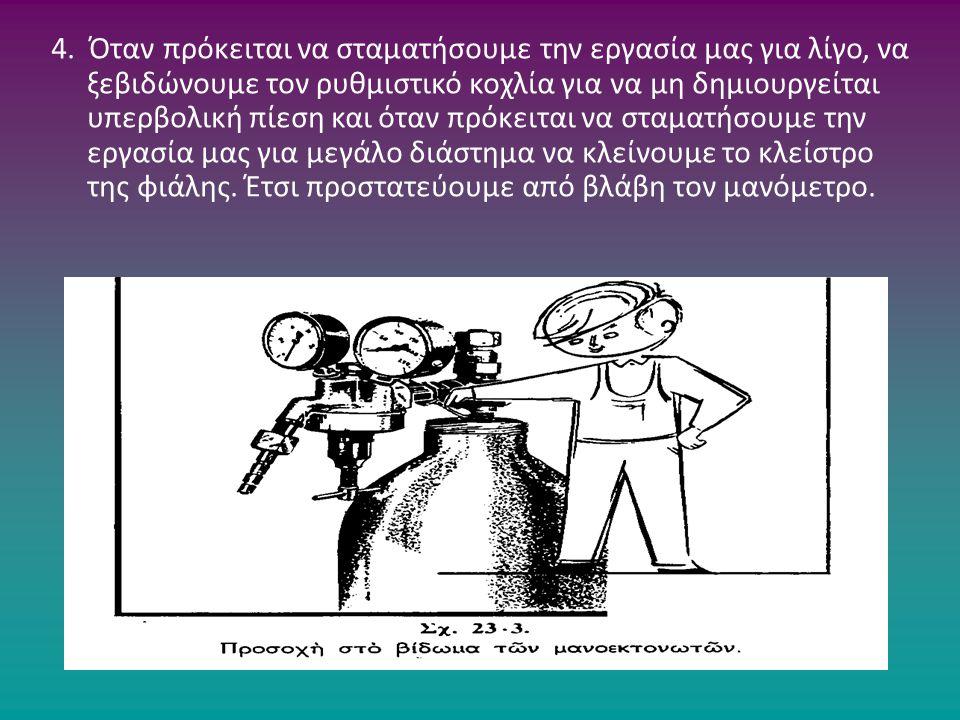 4. Όταν πρόκειται να σταματήσουμε την εργασία μας για λίγο, να ξεβιδώνουμε τον ρυθμιστικό κοχλία για να μη δημιουργείται υπερβολική πίεση και όταν πρό