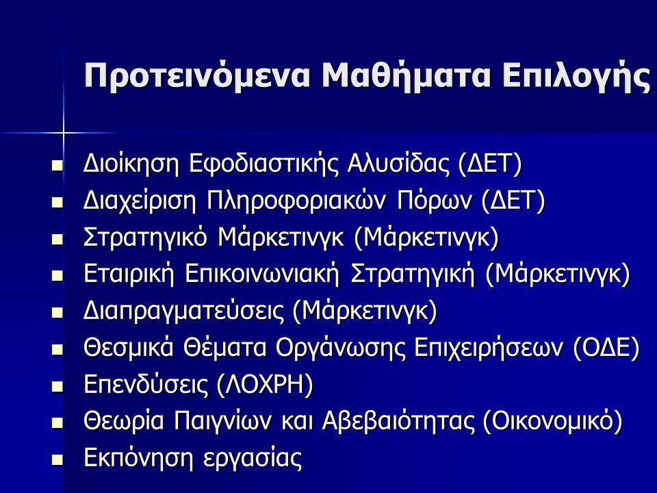 Προτεινόμενα Μαθήματα Επιλογής Διοίκηση Εφοδιαστικής Αλυσίδας (ΔΕΤ) Διοίκηση Εφοδιαστικής Αλυσίδας (ΔΕΤ) Διαχείριση Πληροφοριακών Πόρων (ΔΕΤ) Διαχείριση Πληροφοριακών Πόρων (ΔΕΤ) Στρατηγικό Μάρκετινγκ (Μάρκετινγκ) Στρατηγικό Μάρκετινγκ (Μάρκετινγκ) Εταιρική Επικοινωνιακή Στρατηγική (Μάρκετινγκ) Εταιρική Επικοινωνιακή Στρατηγική (Μάρκετινγκ) Διαπραγματεύσεις (Μάρκετινγκ) Διαπραγματεύσεις (Μάρκετινγκ) Θεσμικά Θέματα Οργάνωσης Επιχειρήσεων (ΟΔΕ) Θεσμικά Θέματα Οργάνωσης Επιχειρήσεων (ΟΔΕ) Επενδύσεις (ΛΟΧΡΗ) Επενδύσεις (ΛΟΧΡΗ) Θεωρία Παιγνίων και Αβεβαιότητας (Οικονομικό) Θεωρία Παιγνίων και Αβεβαιότητας (Οικονομικό) Εκπόνηση εργασίας Εκπόνηση εργασίας