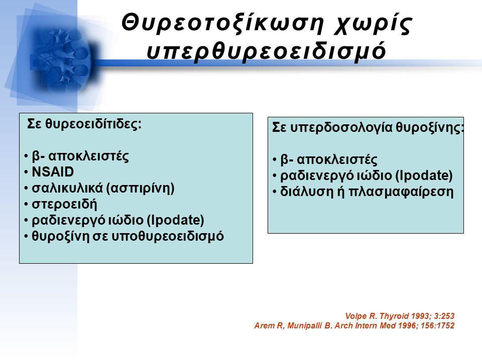 Θυρεοτοξίκωση χωρίς υπερθυρεοειδισμό Σε θυρεοειδίτιδες: β- αποκλειστές NSAID σαλικυλικά (ασπιρίνη) στεροειδή ραδιενεργό ιώδιο (Ipodate) θυροξίνη σε υποθυρεοειδισμό Σε υπερδοσολογία θυροξίνης: β- αποκλειστές ραδιενεργό ιώδιο (Ipodate) διάλυση ή πλασμαφαίρεση Volpe R.