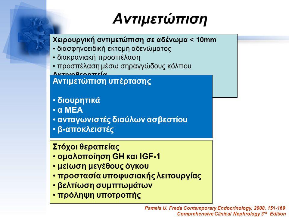 Αντιμετώπιση Στόχοι θεραπείας ομαλοποίηση GH και IGF-1 μείωση μεγέθους όγκου προστασία υποφυσιακής λειτουργίας βελτίωση συμπτωμάτων πρόληψη υποτροπής Χειρουργική αντιμετώπιση σε αδένωμα < 10mm διασφηνοειδική εκτομή αδενώματος διακρανιακή προσπέλαση προσπέλαση μέσω σηραγγώδους κόλπου Ακτινοθεραπεία Συνδυασμός χειρουργικής και ακτινοβολίας Φαρμακευτική αγωγή Ανάλογα σωματοστατίνης Αγωνιστές ντοπαμίνης Ανταγωνιστές των υποδοχέων GH Αντιμετώπιση υπέρτασης διουρητικά α ΜΕΑ ανταγωνιστές διαύλων ασβεστίου β-αποκλειστές Pamela U.