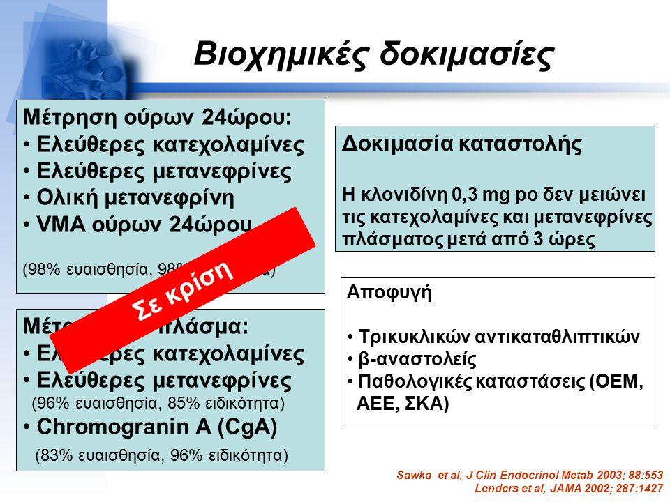 Βιοχημικές δοκιμασίες Μέτρηση σε πλάσμα: Ελεύθερες κατεχολαμίνες Ελεύθερες μετανεφρίνες (96% ευαισθησία, 85% ειδικότητα) Chromogranin A (CgA) (83% ευα