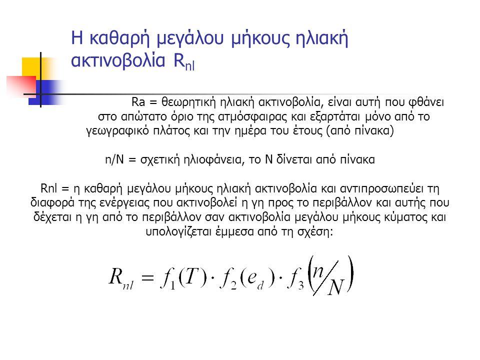 Ra = θεωρητική ηλιακή ακτινοβολία, είναι αυτή που φθάνει στο απώτατο όριο της ατμόσφαιρας και εξαρτάται μόνο από το γεωγραφικό πλάτος και την ημέρα του έτους (από πίνακα) n/N = σχετική ηλιοφάνεια, το Ν δίνεται από πίνακα Rnl = η καθαρή μεγάλου μήκους ηλιακή ακτινοβολία και αντιπροσωπεύει τη διαφορά της ενέργειας που ακτινοβολεί η γη προς το περιβάλλον και αυτής που δέχεται η γη από το περιβάλλον σαν ακτινοβολία μεγάλου μήκους κύματος και υπολογίζεται έμμεσα από τη σχέση: Η καθαρή μεγάλου μήκους ηλιακή ακτινοβολία R nl