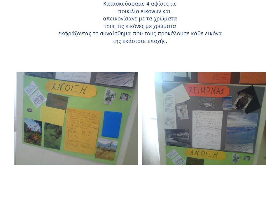 Kατασκεύασαμε 4 αφίσες με ποικιλία εικόνων και απεικονίσανε με τα χρώματα τους τις εικόνες με χρώματα εκφράζοντας το συναίσθημα που τους προκάλουσε κά