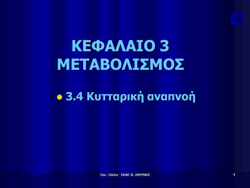 Παν. Πάλλα - ΕΚΦΕ Ν. ΣΜΥΡΝΗΣ 4 ΚΕΦΑΛΑΙΟ 3 ΜΕΤΑΒΟΛΙΣΜΟΣ 3.4 Κυτταρική αναπνοή 3.4 Κυτταρική αναπνοή