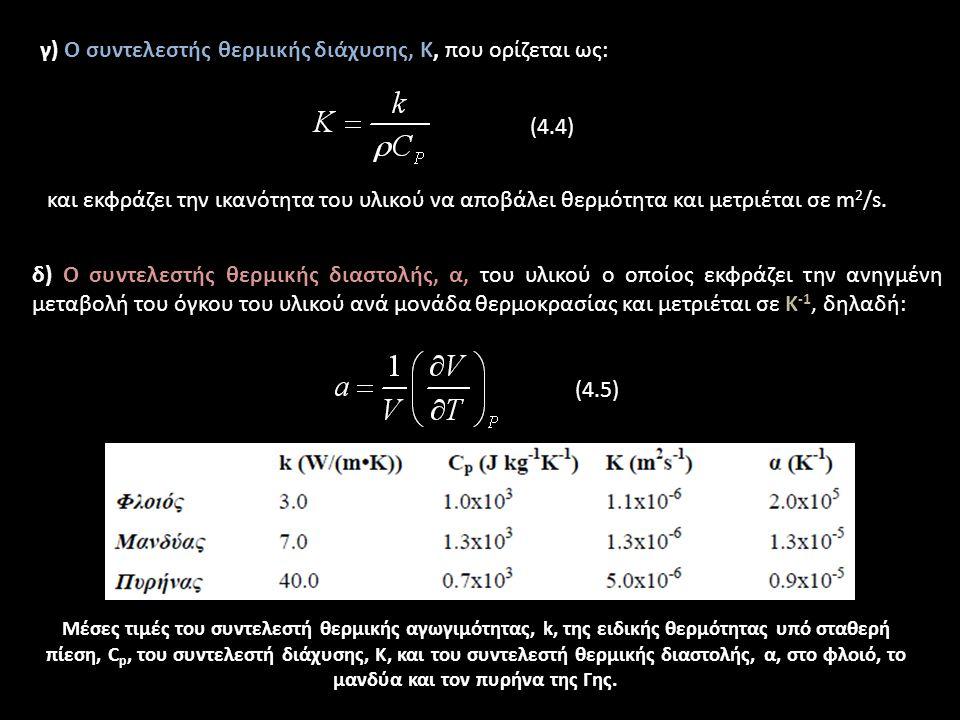 Παράμετροι που αφορούν τις θερμικές ιδιότητες του υλικού της Γης: α) Ο συντελεστής θερμικής αγωγιμότητας, k, που εκφράζει τη ροή θερμότητας με αγωγή μέσα σε ένα υλικό ανά μονάδα χρόνου, μήκους και βαθμό θερμοκρασίας και μετριέται σε W/(mK) (Watt ανά μέτρο και ανά βαθμό), δηλαδή: (4.1) β) Η ειδική θερμότητα, C, που εκφράζει τη θερμότητα που απαιτείται ώστε μία μονάδα μάζας ενός υλικού να αυξήσει τη θερμοκρασία της κατά μία μονάδα.