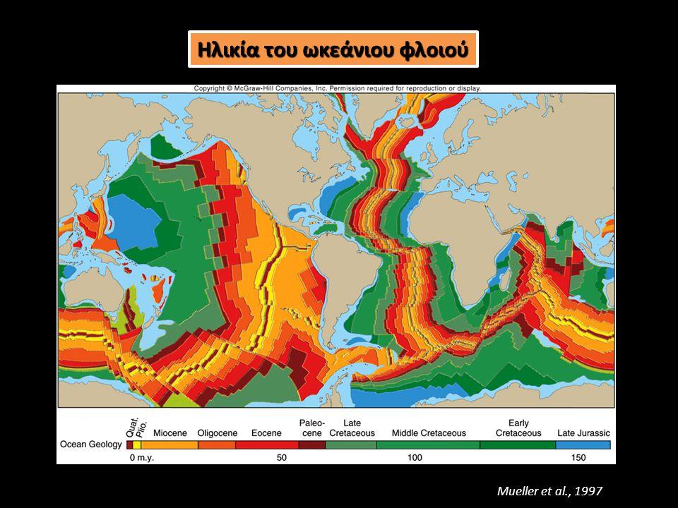 Ηλικία (Ma) 50100150 Βάθος (km) Σύμφωνα με το μοντέλο GDH1, η μεταβολή του μέσου βάθους, d (km), του θαλάσσιου πυθμένα σε συνάρτηση με την ηλικία, t (Ma), της ωκεάνιας λιθόσφαιρας δίνεται από τις σχέσεις: Η αύξηση του βάθους του ωκεάνιου πυθμένα με την ηλικία της λιθόσφαιρας οφείλεται στο γεγονός ότι η λιθοσφαιρική πλάκα: απομακρύνεται από τον άξονα τηςαυξάνεται η ηλικία της ψύχεται συστέλλεται αυξάνεται η πυκνότητά της βυθίζεται στον μανδύα (4.12) (4.13)