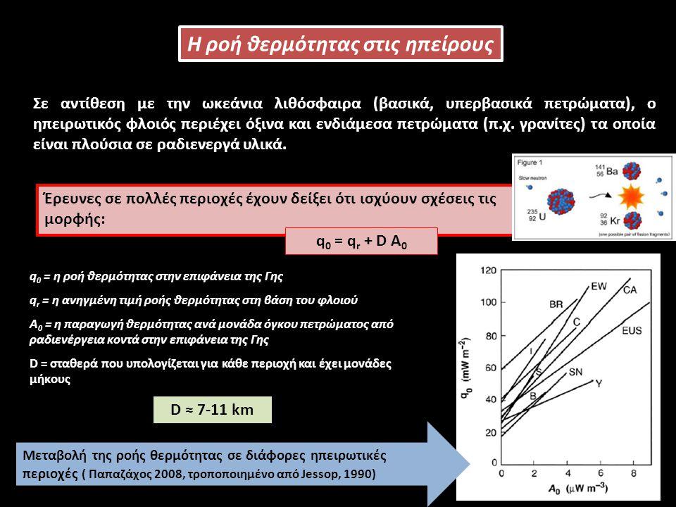 Η ροή θερμότητας στις ηπείρους Η ροή θερμότητα στις ηπείρους είναι εξαιρετικά ανομοιόμορφη και δεν μπορεί να ερμηνευθεί με απλά γεωθερμικά μοντέλα.