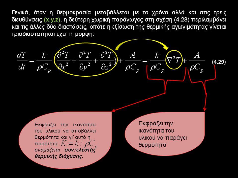 Αφού η συνολική θερμότητα ανά μονάδα χρόνου, q c, προέρχεται από την παραγωγή θερμότητας ανά μονάδα χρόνου, q g, και τη παραμένουσα θερμότητα ανά μονάδα χρόνου (εισερχόμενη μείον εξερχόμενη), q f, έχουμε q c = q g + q f, οπότε από τις σχέσεις (4.25) και (4.26) προκύπτει ότι: (4.27) Από τη σχέση (4.27) και τον ορισμό της θερμικής αγωγιμότητας από το νόμο Fourier (σχέση 4.6) με παραγώγιση ως προς z προκύπτει η εξίσωση: (4.6)(4.27) Aποτελεί την εξίσωση της θερμικής αγωγιμότητας σε μία διάσταση και εκφράζει τη μεταβολή της θερμοκρασίας με το χρόνο, t, κατά την κατακόρυφη διεύθυνση, z.