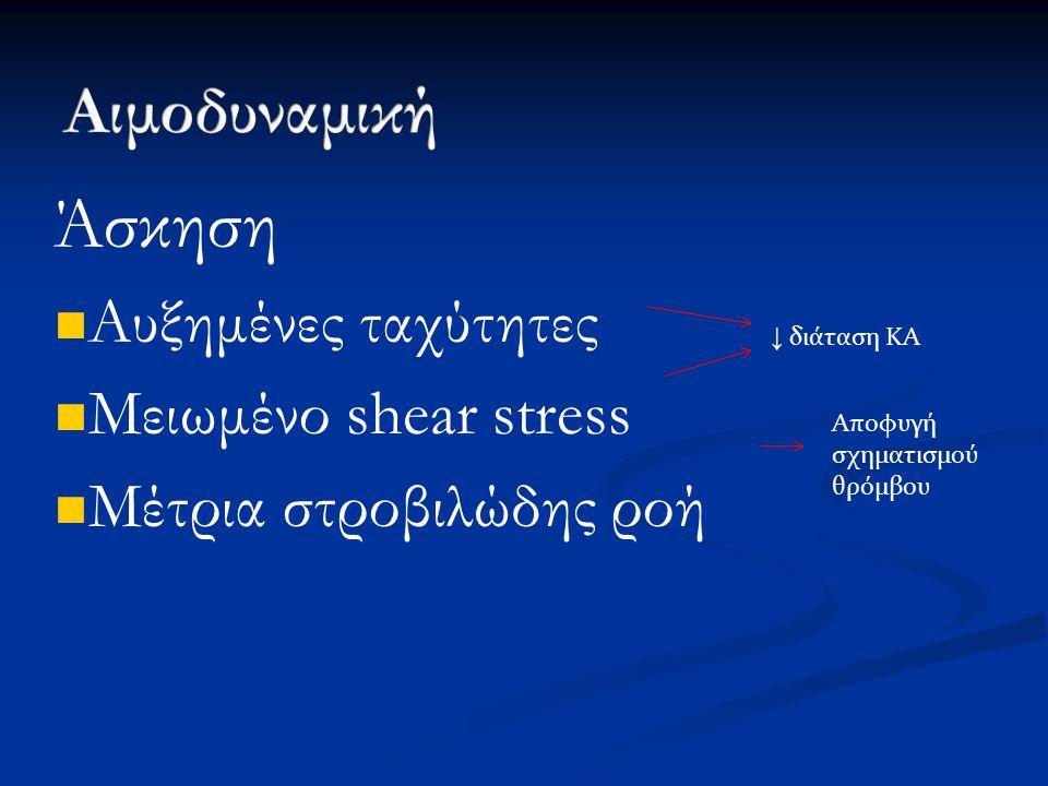 Άσκηση Αυξημένες ταχύτητες Μειωμένο shear stress Μέτρια στροβιλώδης ροή ↓ διάταση ΚΑ Αποφυγή σχηματισμού θρόμβου