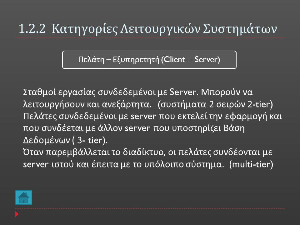 1.2.2 Κατηγορίες Λειτουργικών Συστημάτων Πελάτη – Εξυ π ηρετητή (Client – Server) Σταθμοί εργασίας συνδεδεμένοι με Server. Μπορούν να λειτουργήσουν κα