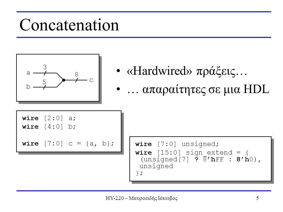 ΗΥ-220 – Μαυροειδής Ιάκωβος5 Concatenation «Hardwired» πράξεις… … απαραίτητες σε μια HDL wire [2:0] a; wire [4:0] b; wire [7:0] c = {a, b}; wire [2:0] a; wire [4:0] b; wire [7:0] c = {a, b}; 3 5 8 a b c wire [7:0] unsigned; wire [15:0] sign_extend = { (unsigned[7] .