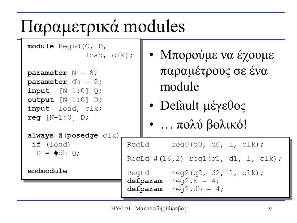 ΗΥ-220 – Μαυροειδής Ιάκωβος9 Παραμετρικά modules Μπορούμε να έχουμε παραμέτρους σε ένα module Default μέγεθος … πολύ βολικό.